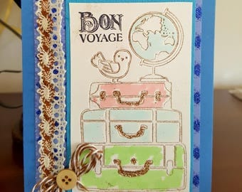 Bon Voyage Card * Safe Travels Greeting Card with Suitcases * Enjoy Your Vacation Travel Card * Handmade World Travels Card