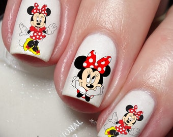Minnie mouse nails etsy minnie mouse disney nail art sticker water transfer decal 211 prinsesfo Image collections