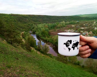 Enamel Travel Mug * Map Design * Camping Cup * Best Fathers Gift * Travel Enamel Cup Mug * World Map Mug