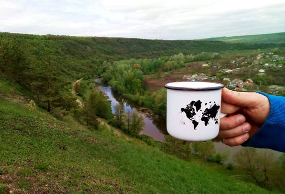 Enamel travel mug map design camping cup best fathers like this item sciox Image collections