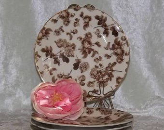SALE Brown Floral Toile Plates, Set of 4 Plates, Brown and Cream Roses Plates, Luncheon Plates, Dessert Plates, Salad Plates, Bridal Shower