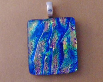 Fused Dichroic Glass Pendant Necklace Yellow Green Blue