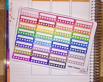Rainbow Habit Tracker Planner Stickers for use with Erin Condren Life Planner and other planners