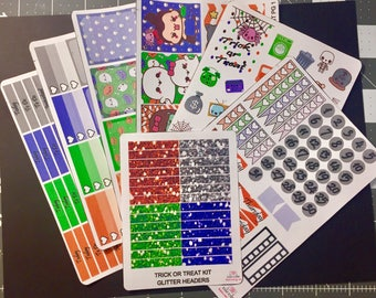 Trick Or Treat Weekly Kit with Glitter Headers for use with vertical Erin Condren Life Planner
