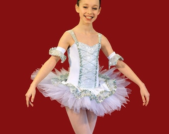 sequins and silver tutu kids dance costume