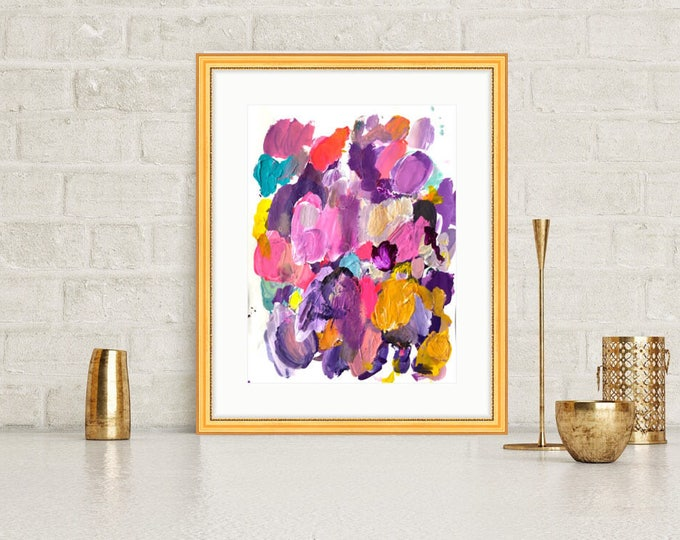Original Abstract Painting on paper Frame Wall Art Fine Art Original Art Abstract Painting Pink Magenta Art Bright Painting 12x16, Purple
