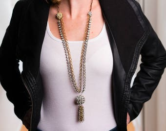 Steam Punk - Mixed Vintage Long Rhinestone Necklace