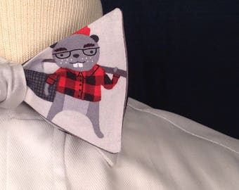 Beaver Flannel- Self Tie Bow Tie