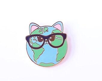 Cat planet earth enamel pin    Space cat pin badge   Cats rule   Cute Cat Brooch   Cat Enamel Pin   Cat Lover Gift   Cats