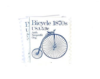 10 x Bicycle 1870s US Unused - Blue & White 1982 Vintage Postage Stamps - high ordinary - penny farthing - Bike - for crafts, mail art