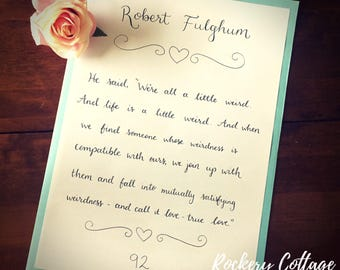 Hand lettered poetry, Shakespeare gift, shakespeare poem, hand lettered poem, calligraphy poem, poetry gift, handlettered quote,