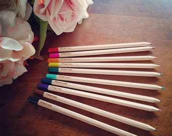 Personalised colouring pencils, 12 mixed colouring pencils customised with a name or words of your choice. Childs toy, stocking stuffer, fun