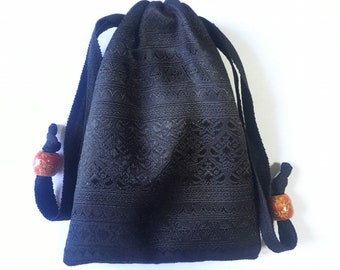 Handmade Thai Black Silk Tarot Pouch Bag Dice Pouch Jewelry Bag Glasses bag With Drawstring