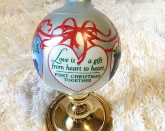 Vintage Hallmark Glass Ornament 1985 FIRST Christmas Together Couple Memory