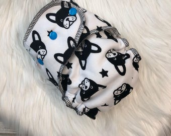 French Bulldog boston terrier Dog Puppy Stars Hybrid Fitted Cloth Diaper - Zorb Organic One Size OS FDR