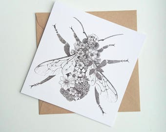 Floral Bumblebee || Square Greetings Card