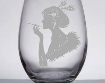 Etched Flapper Vintage Stemless Wine Glass