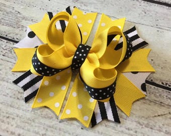Yellow and Black Stacked Hair Bow,School Hair Bow,Girls Stacked Hair Bow, Back to School Boutique Hair Bow ,Stacked Hair Bow