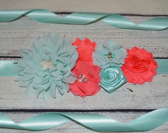 Coral and Aqua Maternity Sash, Maternity Sash , Flower Belt ,Baby Shower Sash, Flower Girl Sash, Vintage Flower Belt, Bridal Sash