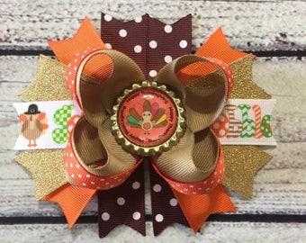 Turkey Hair Bow ~Fall Hair Bow ~Girls Stacked Hair Bows ~Turkey Boutique Hair Bow ~Thanksgiving Hair Bow ~Fall Hair Bow