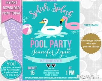 Girls Pool Party, Pool Party, Pool Party Invite, Birthday Invitation, Pool Invitation, Printable Invitation, Summer Party, Pool Birthday