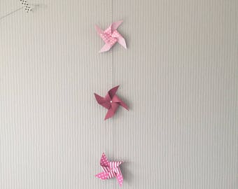 Garland of purple pink pinwheels star heart
