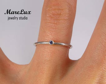 Natural Iolite Stacking Silver Ring, Earth Mined Iolite Silver Ring, 1.5 mm Round Cut Blue Iolite Ring, Tiny Genuine Iolite Stackable Ring