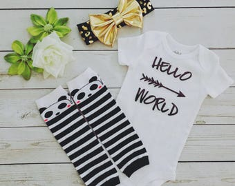 Newborn baby outfit , Newborn 3 pc set , Hello world newborn outfit