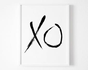 XO Print, Printable XO, Typography art, xo art, Printable art, Hugs and Kisses, Minimalist Print, wall art Instant download, Black and White