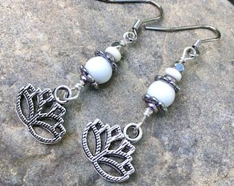 Lotus Flower Earrings, Dangle Earrings, Silver and White Earrings, Drop Earrings, Summer Earrings, Earrings