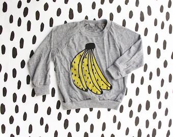 Banana lightweight Pullover, Kids Toddler shirt, long sleeve kids shirt, modern monochrome kids christmas shirt