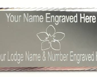 Silver Forget me Not Diamond Cut Masonic Order Case Name/Lodge Plate (T113)