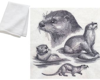 Otter Wildlife Embroidered Cotton Bathroom Hand Towel Present Gift