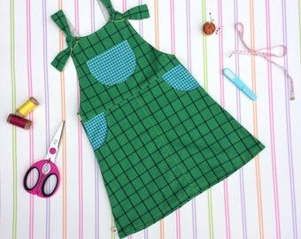 Girls organic dress, girls dungarees, girls green dress, green plaid dress, girls pinafore, cotton dress, girls romper dress, girls dress