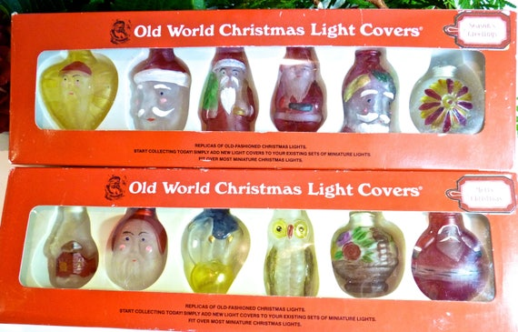 CHRISTMAS LIGHT COVERS ~ Old World Christmas Light Covers ~ Two Boxes ~ 12 Covers ~ 7 Santas, Owl,  Elephant, 2 Christmas Ornaments, Cottage