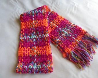 Orange Crochet Tartan-style Scarf
