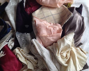 Lot 2, Fabric Pieces and Scraps - Early 1900's to 1940's - Weight 10oz