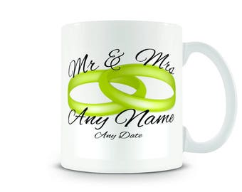 Mr & Mrs Mug. Personalise with any name or text. Perfect wedding presents.