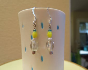 Yellow and clear glass beaded earrings accented with blue - sterling silver hooks