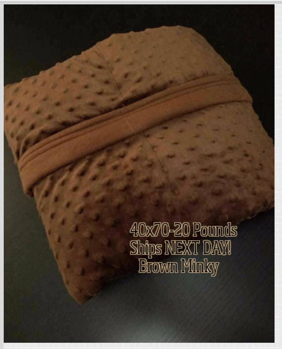 Minky Weighted Blanket, 20 Pound, Brown, 40x70, READY TO SHIP, Twin Size, Adult Weighted Blanket, Next Business Day To Ship