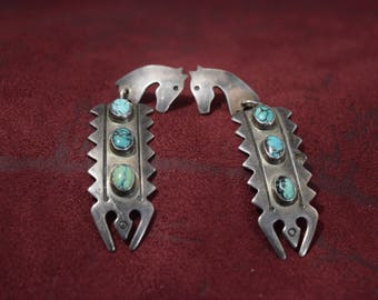 Vernon Haskie Navajo Sterling and Turquoise earrings