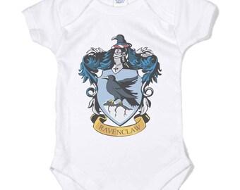 Ravenc #1 Crest color on Infant Baby Rib Lap Shoulder Creeper Onesie
