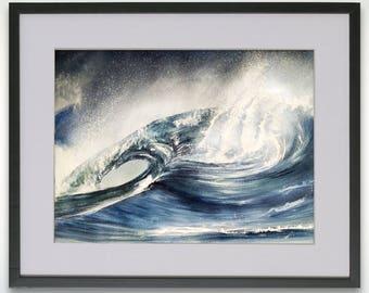 Waves and Sea - Watercolor painting, Original watercolor painting, seascape surf and spray, watercolor. Beautiful wall decoration