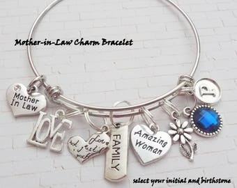 Mother in Law Gift, Personalized Gift, Initial Jewelry, Gifts for Her, Mother Bracelet, Gifts for Mother, Daughter to Mother Gift. Mom Gift