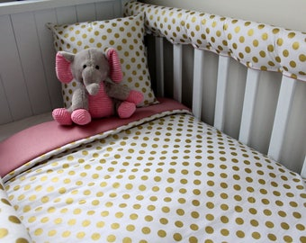 Girls Gold dots reversed with Vintage Pink Cot Set