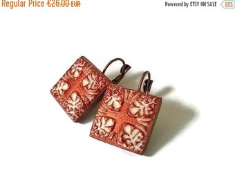 20% OFF SUMMER SALE Clay Portuguese tile earrings, azulejo earrings, unique gifts, Portuguese tiles jewelry, Portugal, azulejo inspiration,