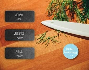 DIY Printable Spice Jar Labels - Simple Elegant Chalkboard Spice Jar Labels - Home Organizing Stickers - Instant Download
