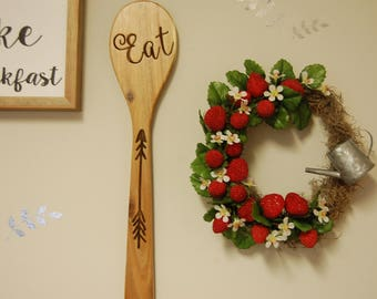 Small Strawberry Garden Wreath with Watering Can Wall Accent Spring and Summer