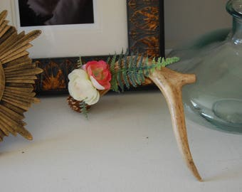 Single Genuine Deer Antler with White and Pink Peonies and Fern Home Decor Table Decorative Accent