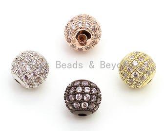 1pc/5pcs CZ Micro Pave Round Ball Bead, Cubic Zirconia Pave Beads, Rhodium Shamballa Ball beads, CZ Space Beads 6,8,12,16,18,24mm,sku#G306